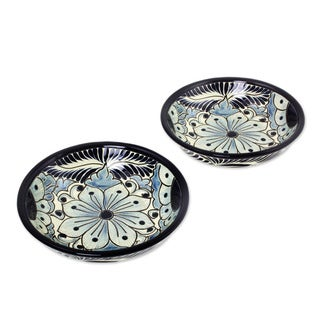 Pair of 2 Ceramic Cereal Bowls, 'Blue Colonial Blossom' (Mexico)
