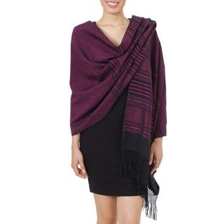Zapotec Cotton Rebozo Shawl, 'Mexican Rose' (Mexico)