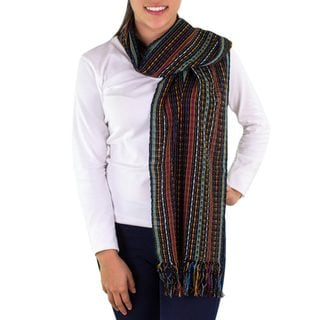 Handmade Cotton Scarf, 'Valley at Night' (Guatemala)