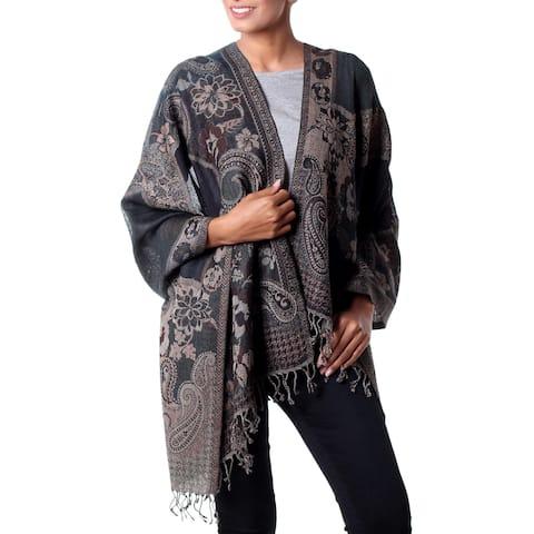 Handmade Jamawar Wool Shawl, 'Subtle Splendor' (India)