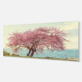 Designart 'Pink Flowers on Lonely Tree' Landscape Metal Wall Art