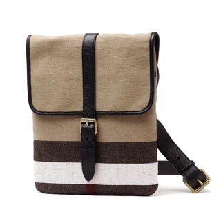 Burberry Everson Beige Canvas Check Crossbody Bag
