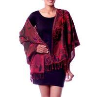 Handmade Jamawar Wool Shawl, 'Modern Delight' (India)