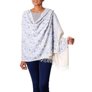 Handmade Wool Shawl, 'Blue Flower Breeze' (India)