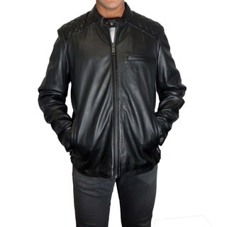 Marc New York Quincy Men's Black Leather Moto Jacket