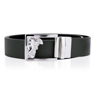 Versace Collection Men's Black Grey Leather Reversible Belt