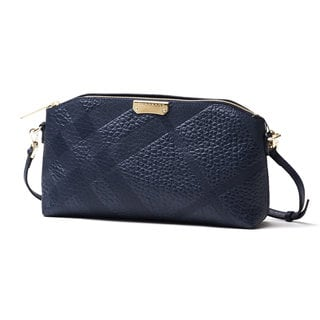Burberry Chichester Navy Leather Embossed Check Clutch Handbag