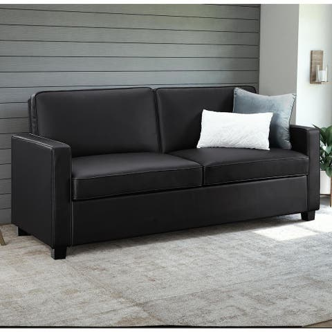 Porch & Den Broward Black Faux Leather Queen Sleeper Sofa
