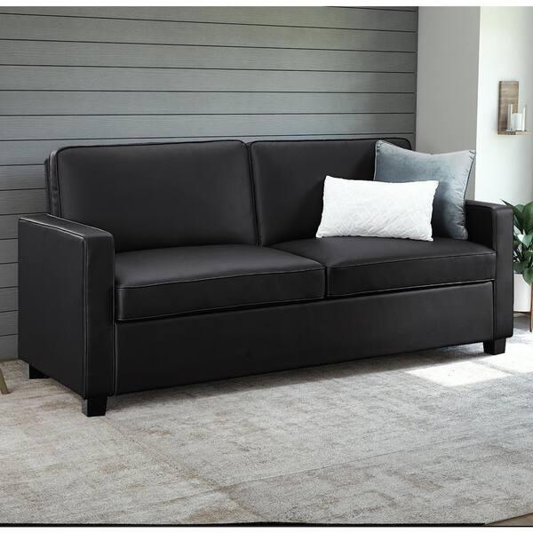 Excellent Shop Porch Den Broward Black Faux Leather Queen Sleeper Machost Co Dining Chair Design Ideas Machostcouk