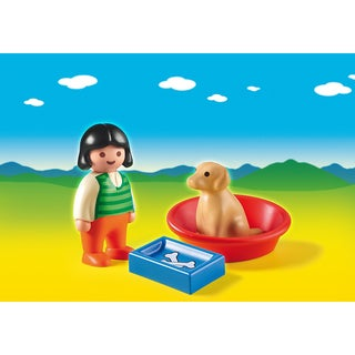 PlayMobil Kids' PM6796 Girl With Dog, Food Bowl, and Basket Playset