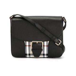 Burberry Dickens Black Check Leather Messenger Bag