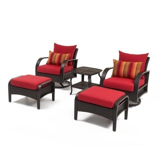 RST 'Barcelo' 5pc Swiveling Club Chair, Ottoman, and Side Table Set in Sunset Red