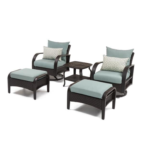 Super Shop Barcelo Spa Blue 5 Piece Motion Club Chair And Ottoman Cjindustries Chair Design For Home Cjindustriesco