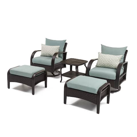 Barcelo Spa Blue 5-piece Motion Club Chair and Ottoman Set by RST Brands