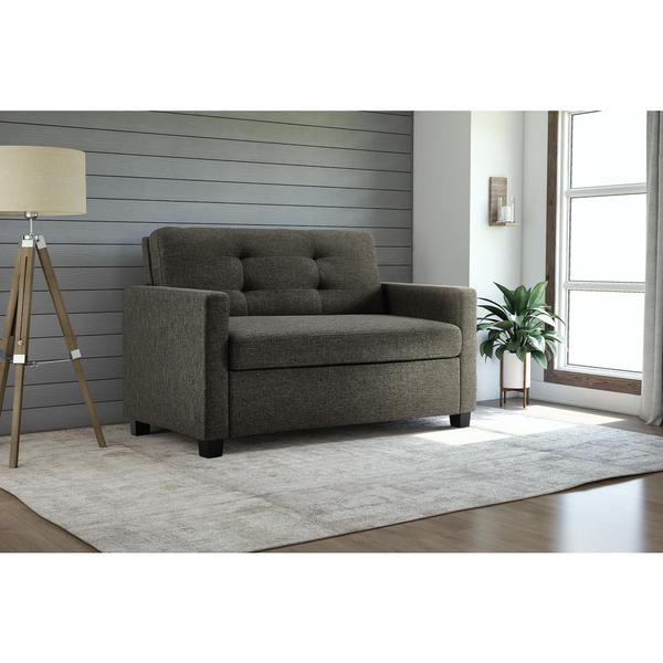 dhp signature sleep devon grey linen twin sleeper sofa