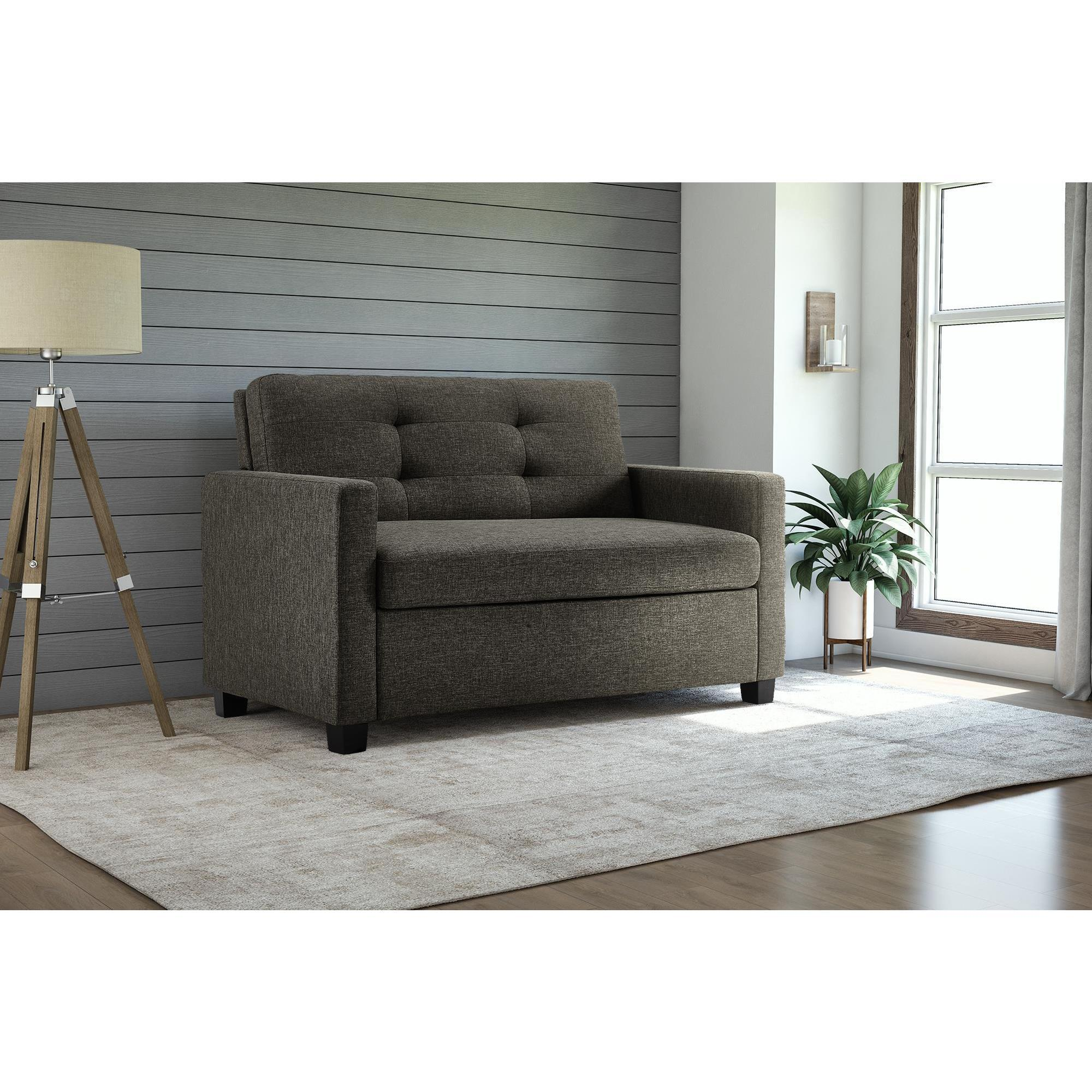 low priced 0a81d ed08d Shop DHP Signature Sleep Devon Grey Linen Twin Sleeper Sofa ...
