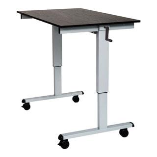 Offex SC-48-AG/BO-1PK Black Oak/Silver Frame 48-inch Crank Adjustable Stand-up Desk