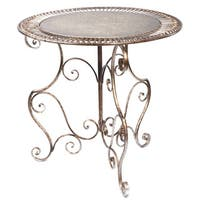 Bronze Metal Round Decorative Accent Table