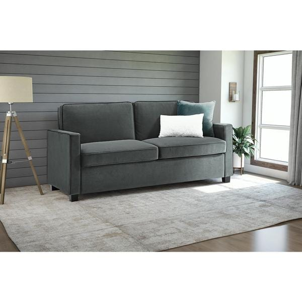 shop dhp signature sleep casey grey velvet queen sleeper sofa free rh overstock com