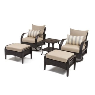 RST Barcelo 5-pc. Swiveling Chair, Ottoman, and Side Table Set (Slate Grey)