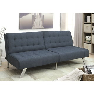 Furniture of America Haley Contemporary Tufted Split-Back Linen Futon Sofa