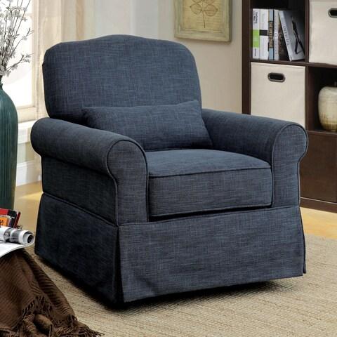 Furniture of America Shyla Contemporary Linen-like Swivel Glider Rocker Chair