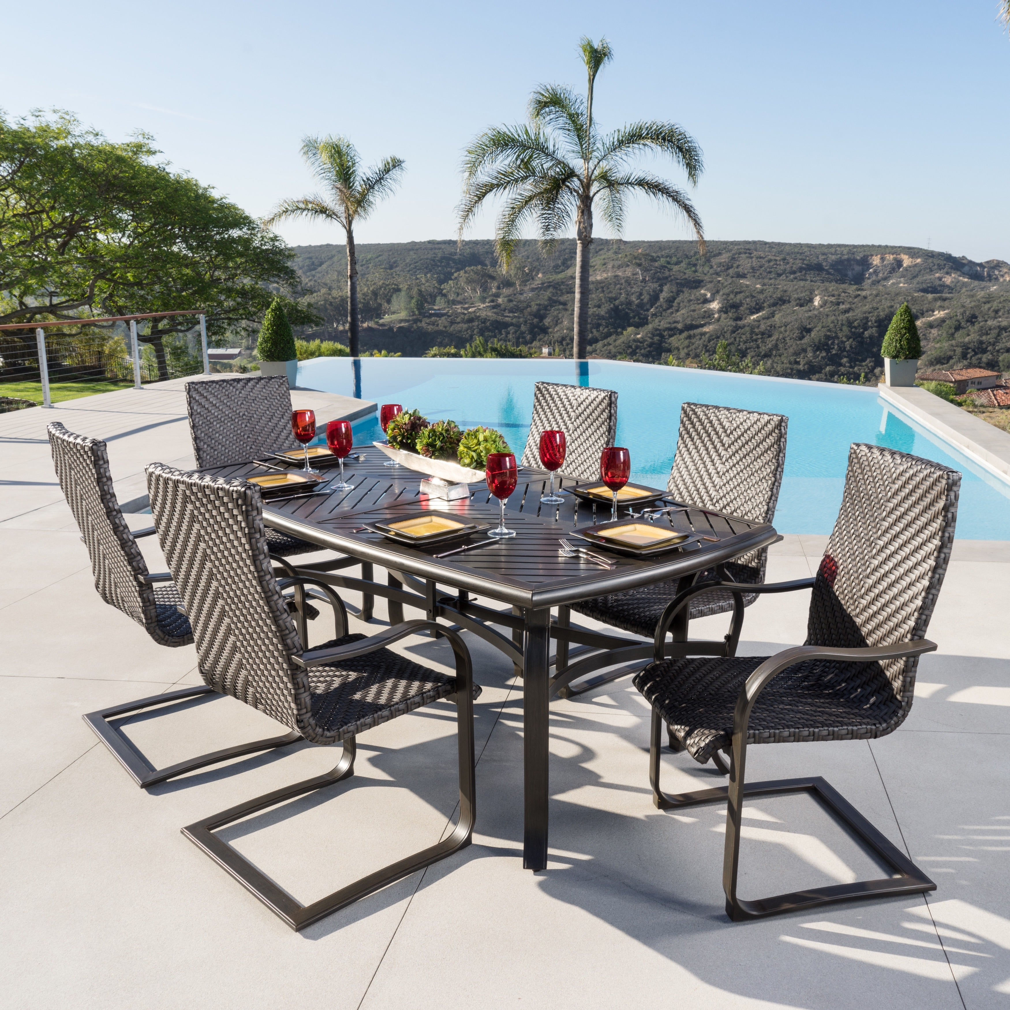 Barcelo Brown Wicker 7-piece Outdoor Dining Set by RST Br...