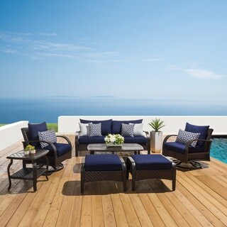 Barcelo Navy Blue 7-Piece Motion Club Deep Seat Sofa Set by RST Brands