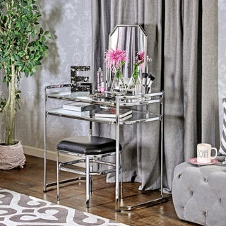 Furniture of America Rima Contemporary 2-piece Glam Vanity Table and Stool Set (2 options available)