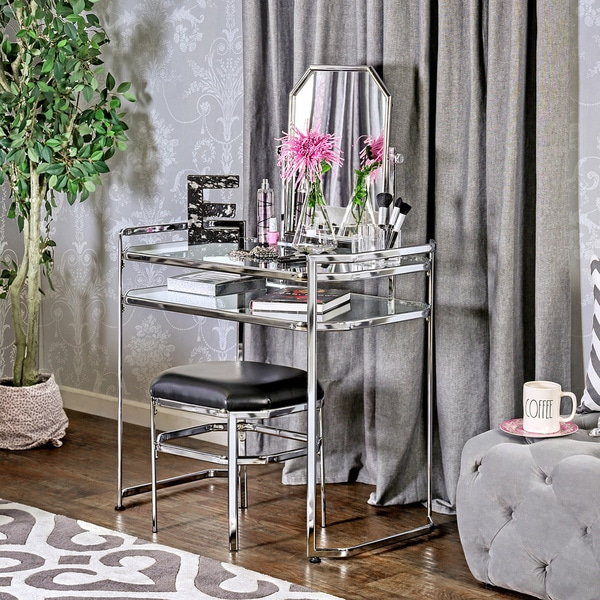 Two Piece Vanity Sets: Furniture Of America Rima Contemporary 2-piece Glam Vanity