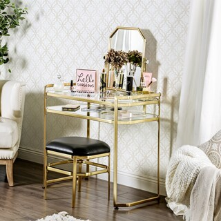 Furniture of America Rima Contemporary 2-piece Glam Vanity Table and Stool Set