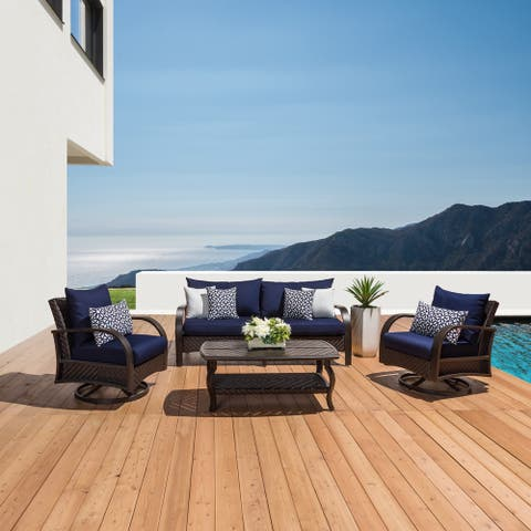 RST 'Barcelo' 4-pc. Navy Swivel Chair, Sofa, and Coffee Table Set