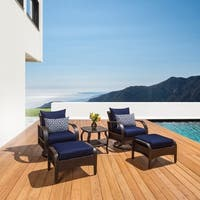 Barcelo 5-piece Motion Club and Ottoman Set in Navy Blue by RST Brands