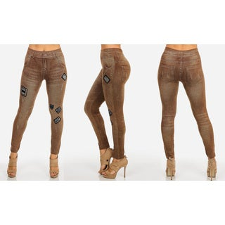 Juniors' Brown Cotton/Polyester/Spandex Patch High-waist Jean Leggings