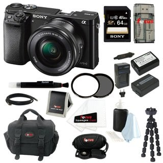 Sony Alpha a6000 ILCE-6000L/B 24.3 Interchangeable Lens Camera with 16-50mm Power Zoom Lens + Sony 64GB SDHC Card + Kit