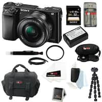 Sony Alpha a6000 ILCE-6000L/B 24.3 Interchangeable Lens Camera with 16-50mm Power Zoom Lens + Sony 32GB SDHC Card + Kit