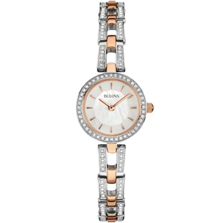 Bulova Women's 98L212 Crystal Analog Display Quartz Two Tone Watch