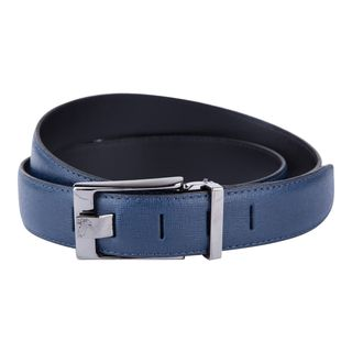 Versace Collection Blue Grained Leather Belt