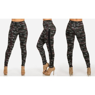 Juniors' Camo-print Polyester/Spandex Leggings