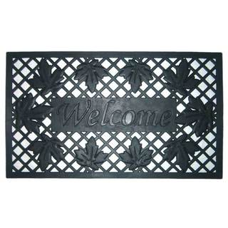 Wrought Iron Rubber 'Lattice and Leaves' Welcome Mat (18 in. x 30 in.)