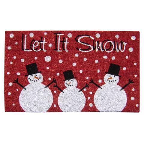 """Let it Snow SuperScraper Multicolor Vinyl Coir 18-inch x 30-inch Doormat - 1'6"""" x 2'6"""""""