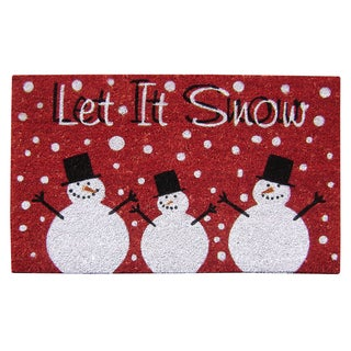 Let it Snow SuperScraper Multicolor Vinyl Coir 18-inch x 30-inch Doormat