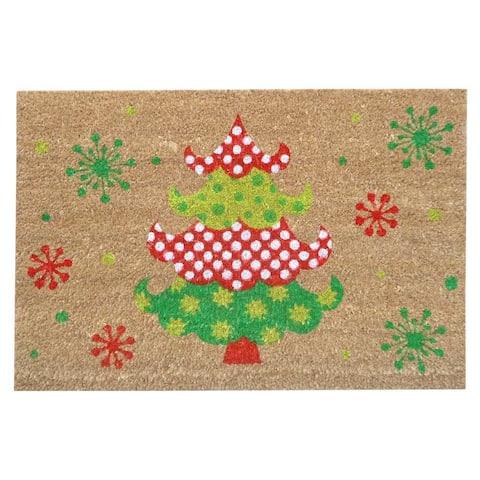 "SuperScraper Holly Jolly Tree Green/Natural/Brown Coir Printed Mat - 1'4"" x 2'"
