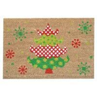 SuperScraper Holly Jolly Tree Green/Natural/Brown Coir Printed Mat - 1'6 x 2'6