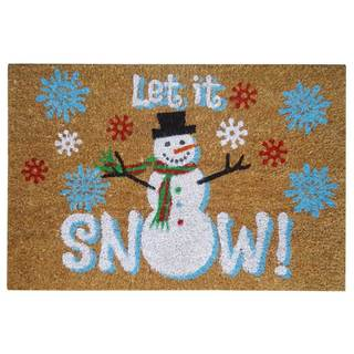 SuperScraper Let it Snow Printed Blue Coir 16-inch x 24-inch Mat