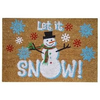 SuperScraper Let it Snow Printed Blue Coir 16-inch x 24-inch Mat - 1'6 x 2'6