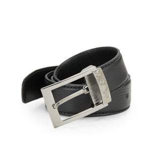 Versace Collection Black Pebbled Leather Belt
