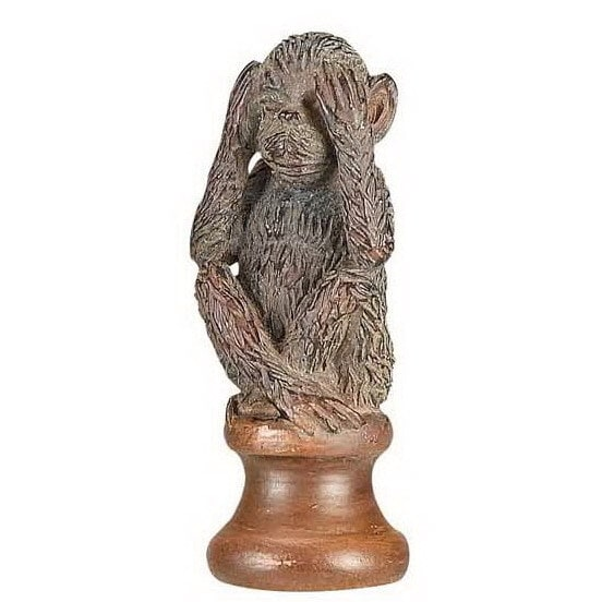 U0027See No Evilu0027 Brown Resin Monkey Lamp Finial   Free Shipping On Orders Over  $45   Overstock.com   20292465