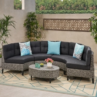 Navagio Outdoor 5 Piece Wicker Sofa Set With Cushions By Christopher Knight  Home