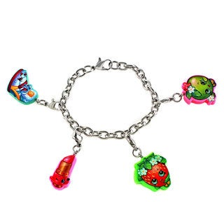 Shopkins Cutout Strawberry Kiss, Apple Blossom, Sneaky Wedge, and Lippy Lips Interchangeable Charm Bracelet